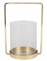 Photophore en verre cadré doré 19,5 cm