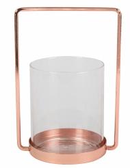 Photophore en verre cadre rose gold 19,5 cm