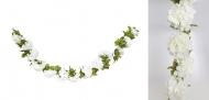 Guirlande de fleurs d'hortensia blanc 220 cm