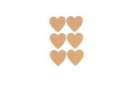 6 Etiquettes adhésives cœur en liège 7,5 x 4,5 cm