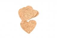12 Confettis coeurs en liège 8,3 x 7 cm