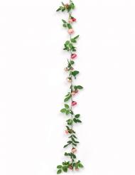 Guirlande de roses et feuilles vertes 2,30 m