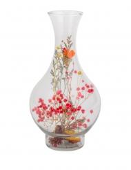 Vase avec fleurs séchées colorées 14 x 27 cm
