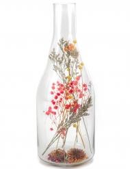 Bouteille avec fleurs séchées colorées 12 x 32 cm