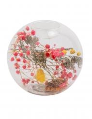 Bougeoir transparent fleurs séchés colorées 11 x 10,5 cm