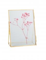 Cadre à poser en verre gypsophile rose et or 18,5 x 13,5 cm