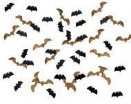 Confettis chauve-souris noir et or 15g 1,7 x 0,7 cm et 2,5 x 0,7 cm