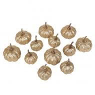 12 Citrouilles paillettes champagne 3 et 5 cm