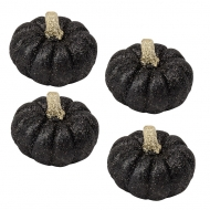 4 Citrouilles paillettes noires 6 x 5 cm