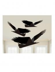 3 Corbeaux noirs en papier à suspendre 43, 38 et 33 cm