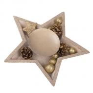 Centre de table en bois bougeoir étoile paillettes or 24,5 cm