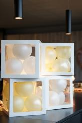 4 Cubes à ballons transparents blancs 30 cm