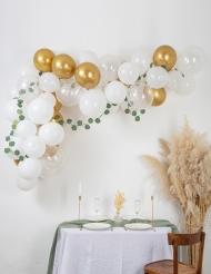 Kit arche de 60 ballons végétale blanc et or