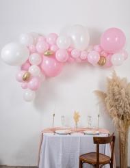 Kit arche de 57 ballons rose et blanche