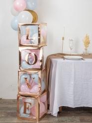 Cube à ballons transparent rose gold 30 x 30 cm