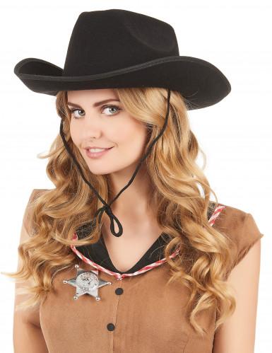 Chapeau cowboy noir adulte avec cordelette-1