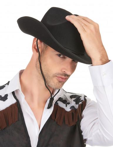 Chapeau cowboy noir adulte avec cordelette-2