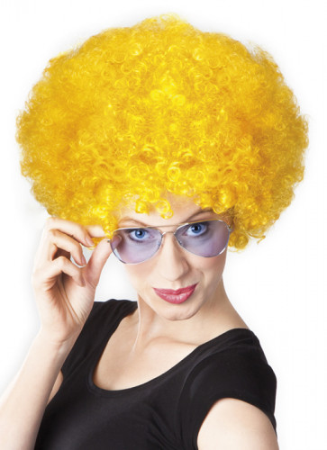 Perruque afro disco jaune volume adulte-1