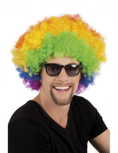 Perruque afro disco clown multicolore volume adulte
