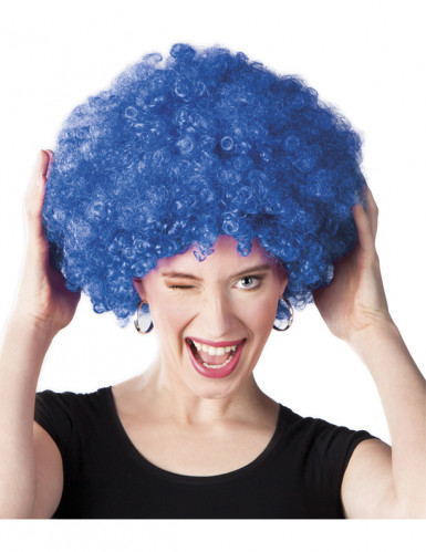 Perruque afro disco bleue volume adulte