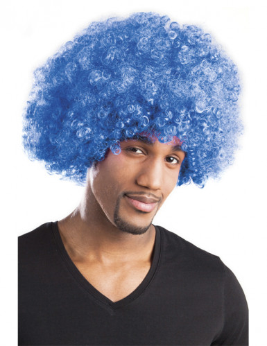 Perruque afro disco bleue volume adulte-1