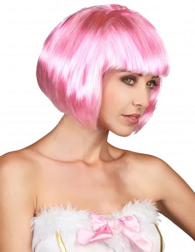Perruque courte rose à frange femme