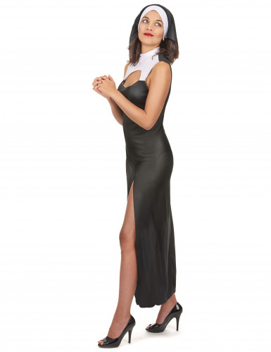 Déguisement nonne sexy robe fendue femme-1
