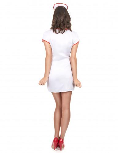 Déguisement infirmière sexy effet satiné femme-2