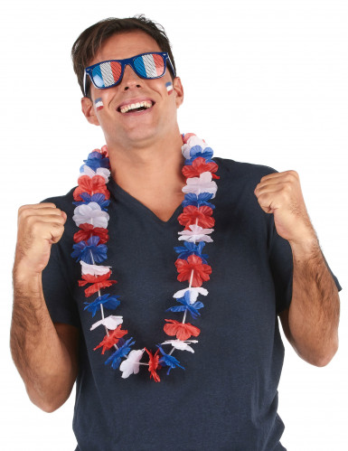 Collier hawaï tricolore supporter France adulte -1
