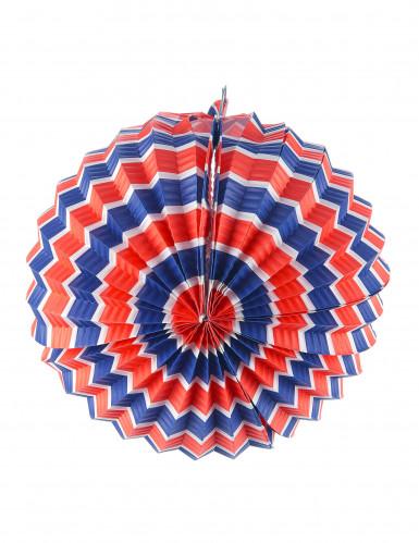 12 lanternes rondes tricolores bleu, blanc et rouge 22 cm