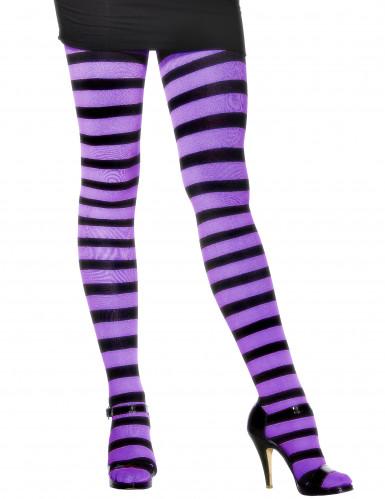 Collants rayés violet et noir femme