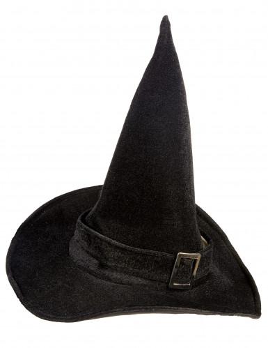 Chapeau sorcière velours halloween adulte-1