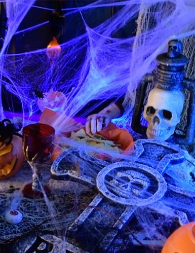 Toile d'araignée blanche avec araignées 100 g Halloween-2
