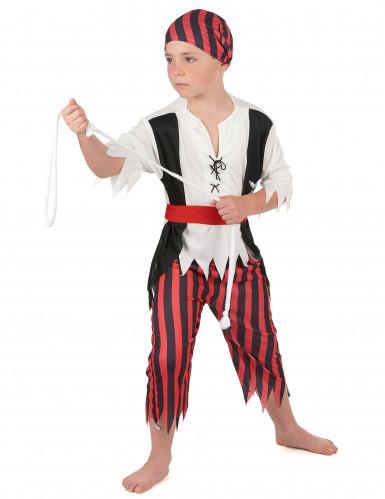 Déguisement pirate rayures noires et rouges garçon-1