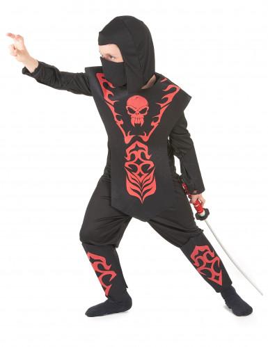 Déguisement ninja rouge à motifs garçon-1