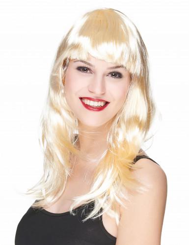 Perruque longue blonde satinée à frange femme