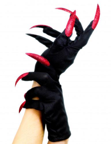 Gants avec faux ongles sorcière Halloween
