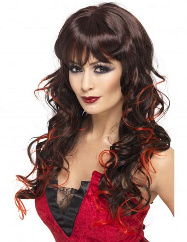 Perruque longue noire avec mèches rouges femme