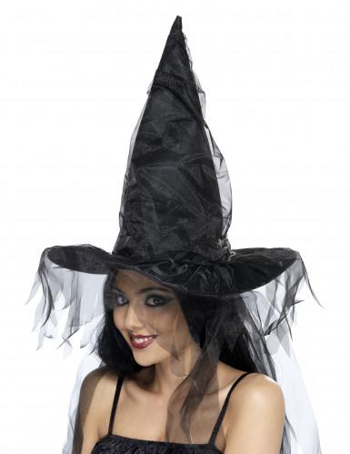 Chapeau sorcière noir à voilage femme