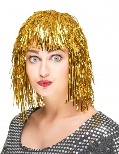 Perruque métallique dorée adulte