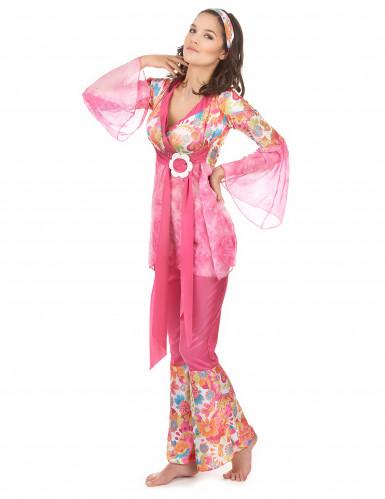 Déguisement hippie flower rose femme-1