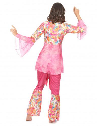 Déguisement hippie flower rose femme-2