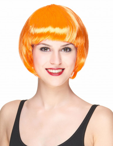 Perruque courte orange femme