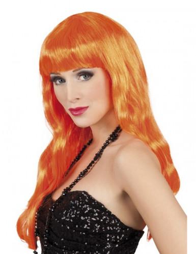 Perruque longue orange fluo à frange Femme