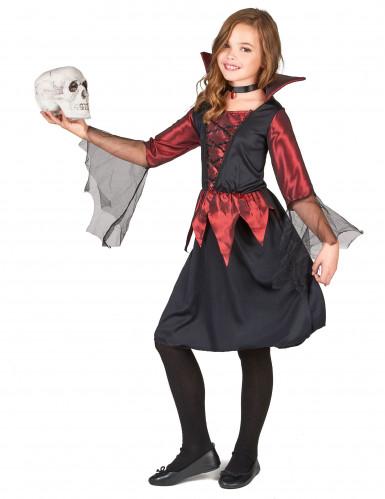 Déguisement vampire satiné fille Halloween-1