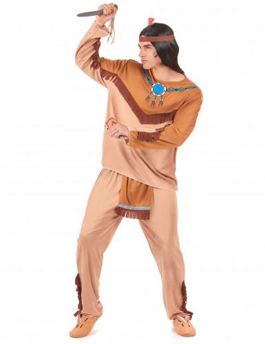 Déguisement indien beige et marron homme-1