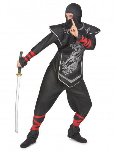Déguisement ninja dragon argentés homme-1