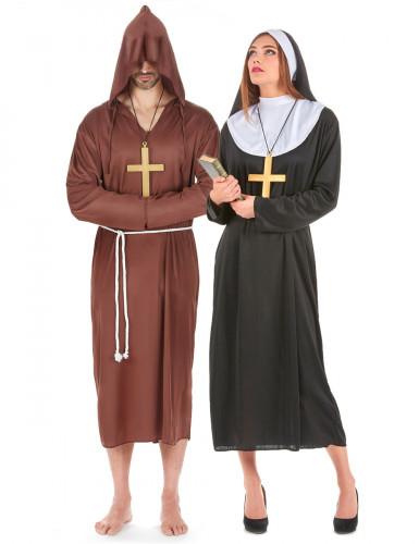 Déguisement de couple de moine et de nonne