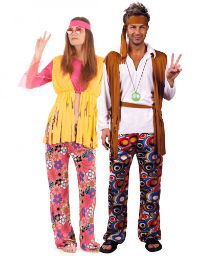 Déguisement couple de hippies multicolores