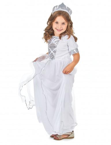 Déguisement princesse argenté fille-1